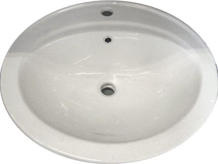 Bathroom White Topmount Sink (White/Beige)
